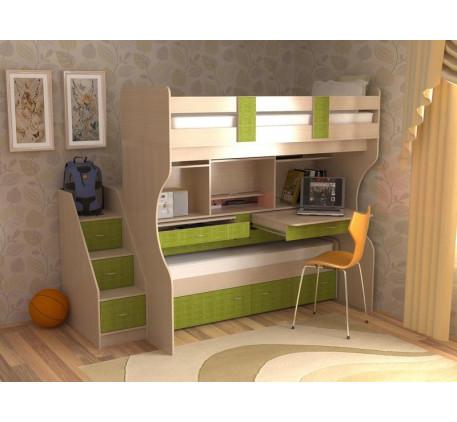 Детская кровать Дуэт-4 с выдвижной нижней кроватью и двумя столами