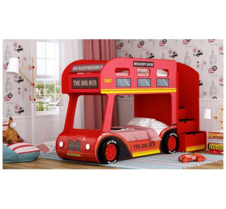 Кровать-автобус Лондон Люкс с объемным бампером, подсветкой фар, объемными колесами. Спальное место ..