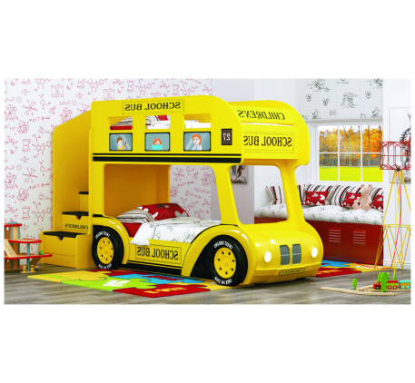 Кровать-автобус Школьный Люкс с объемным бампером, подсветкой фар, объемными колесами. Спальное мест..