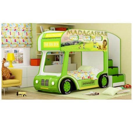 Кровать-автобус Мадагаскар Люкс с объемным бампером, подсветкой фар, объемными колесами. Спальное ме..