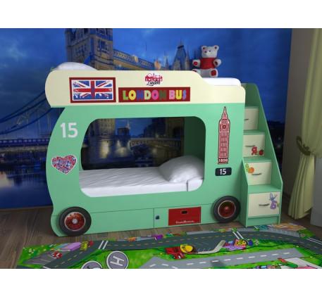 Двухъярусная кровать-автобус Лондон (Славмебель)