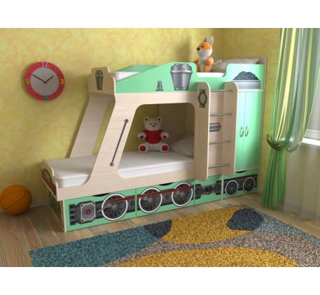Двухъярусная кровать-паровоз Славмебель. Верхнее спальное место 190х80, нижнее 190/160х80 см