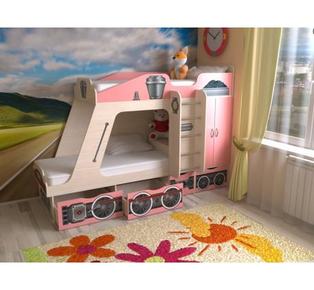 Детская кровать-паровоз Славмебель. Верхнее спальное место 190х80, нижнее 190/160х80 см