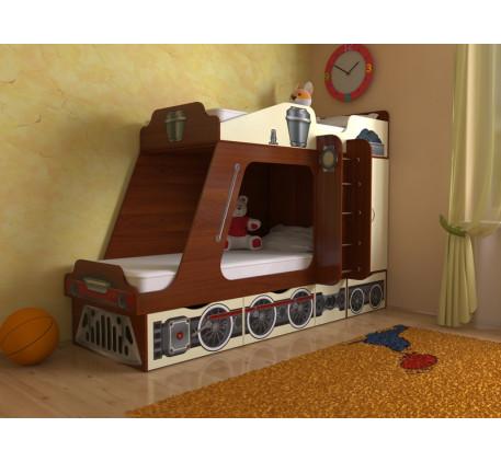Кровать-паровоз для детей Славмебель. Верхнее спальное место 190х80, нижнее 190/160х80 см