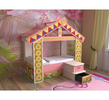 Кровать-домик для девочки Славмебель, спальное место кровати 160х70 см