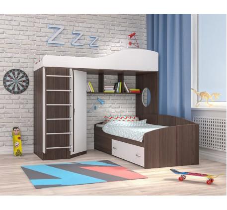 Двухъярусная кровать Кадет-2 с металлической лестницей, верхнее спальное место 190х80, нижнее 200х90..