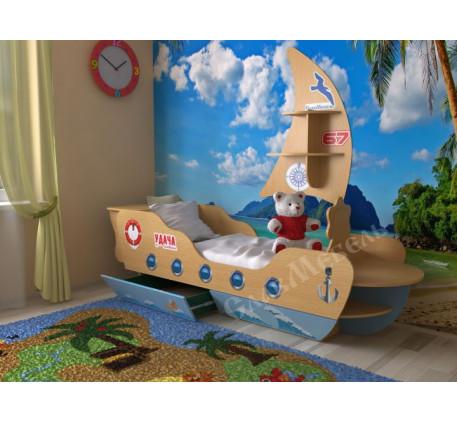 Детская кровать-корабль, спальное место 160х70 см. Дополнительно полка в виде Паруса +2200 руб.
