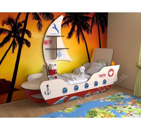 Кровать-корабль для мальчика, спальное место 160х70 см. Дополнительно полка в виде Паруса +2200 руб.