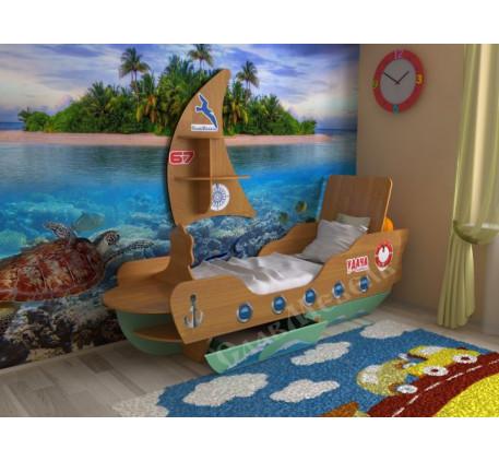 Детская кровать-кораблик, спальное место 160х70 см. Дополнительно полка в виде Паруса +2200 руб.