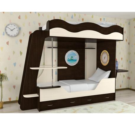 Двухъярусная кровать Кораблик-2, спальные места кровати-корабля 190х80 см