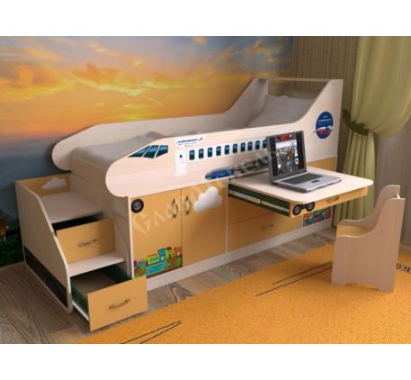 Кровать в виде самолета с лестницей, спальное место детской кровати 190х80 см
