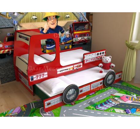 Двухъярусная кровать-машина Пожарная №7, верхнее спальное место 190х80, нижнее 185х75 см