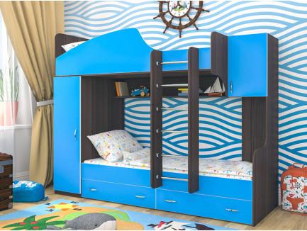 Кровать Юниор-2 двухъярусная (левая), спальные места детской кровати 190х80 см