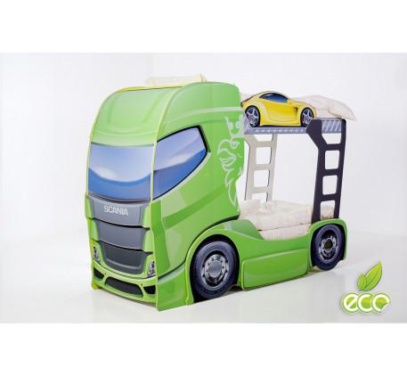 Двухъярусная кровать-автовоз Скания-2 (Мебелев), спальные места кровати-грузовика 180х90 см