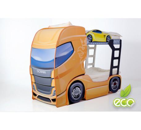 Детская двухъярусная кровать-фура Скания-2 (Мебелев), спальные места кровати-грузовика 180х90 см