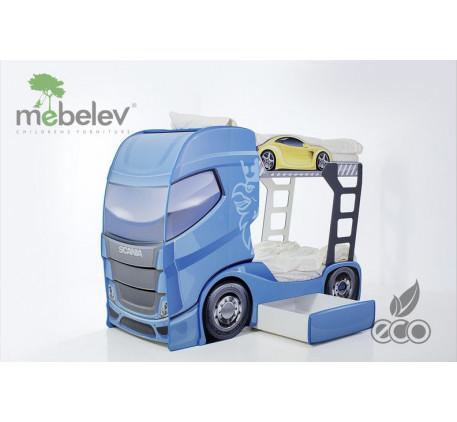 Двухъярусная кровать-грузовик Scania-2 (Мебелев), спальные места кровати-машины 180х90 см