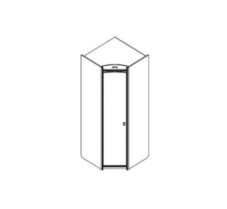 Шкаф угловой (левый) для одежды и белья: 1 дверь левая, 1 полка, 1 штанга для одежды, 1 стеллаж из 5..
