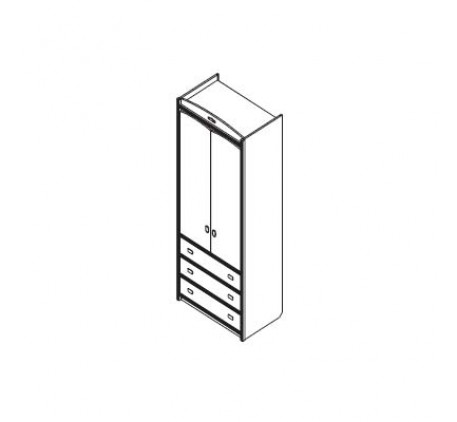 Шкаф для одежды: 2 двери, 1 полка, 1 штанга для одежды, 3 выдв. ящика