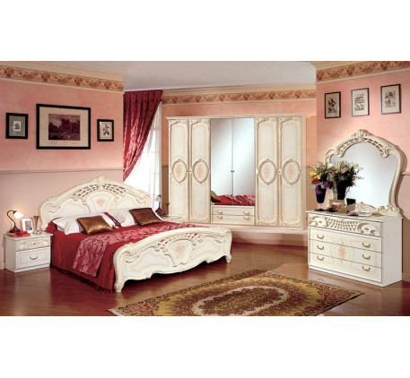 Спальня Роза (на фото): Кровать 1600, Тумба прикроватная (2 шт.), Комод с зеркалом, Шкаф 6 дверный. ..