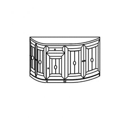 Тумба 2989 с ящиком и 5 дверьми (витраж)