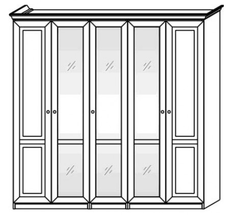 Шкаф 2569 (5 дверей) с зеркалами