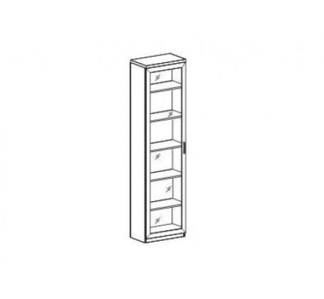 Шкаф-пенал. Задняя стенка -Выбеленный дуб. Наполнение: Стеклополки (5 шт.), подсветка.
