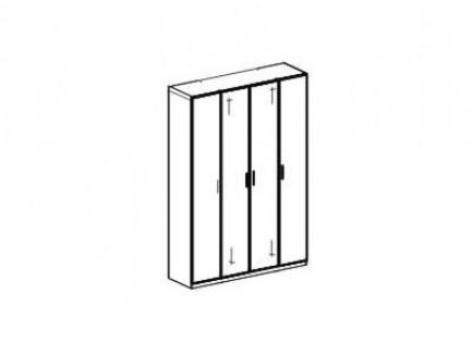 Шкаф 4-х дверный. Стандартное наполнение: Полка с штангой (большая), полка с штангой (малая), комлект полок (5 шт.)