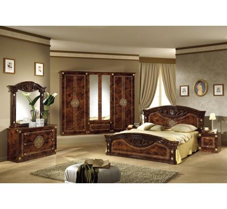 Спальня Рома (на фото): Кровать, Тумба прикроватная (2 шт.), Комод с зеркалом, Шкаф 6 дверный. Допол..