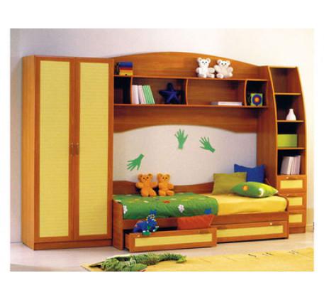 Детская Радуга (шкаф, кровать, навесная полка, пенал)