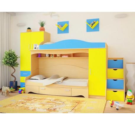 Детская мебель Нео-2 (спальные места 1900*800 мм.) В комплекте с навесными полками.