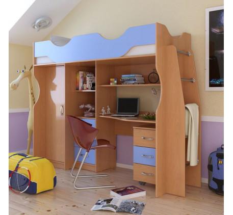 Кровать-чердак Карлсон М4 (арт. 14.712), спальное место 1860*700 мм. Дополнительно: Столешница 14.71..