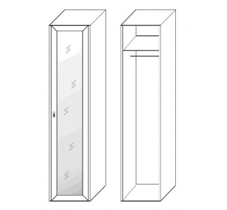 Шкаф 1 дверный 2858 с зеркалом (карниз и цоколь подбираются отдельно)