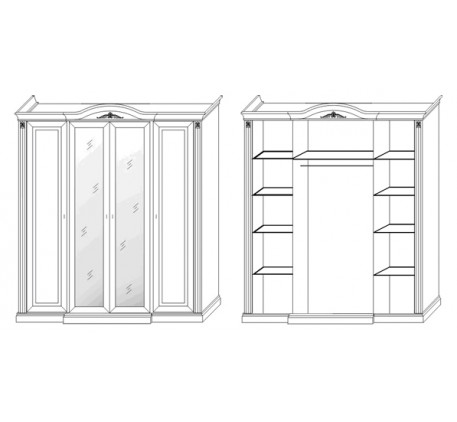 Шкаф 4 дверный с зеркалами 2780