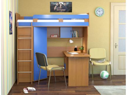 Кровать-чердак Карлсон М2 (арт. 14.710+14.501) с мобильным столом, спальное место кровати 1860*700 мм.