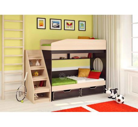Двухъярусная кровать для двоих детей Легенда-10 с лестницей ЛУ-10, спальные места 180х80 см