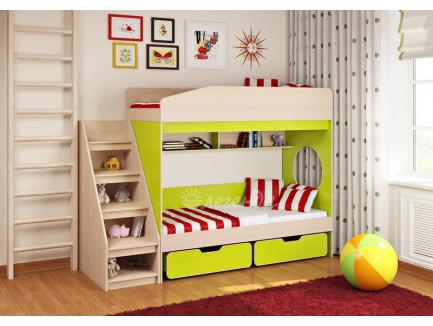 Двухъярусная кровать для детей Легенда-10 с лестницей ЛУ-10, спальные места 180х80 см