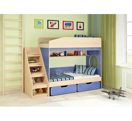 Двухъярусная кровать для мальчиков Легенда-10 с лестницей ЛУ-10