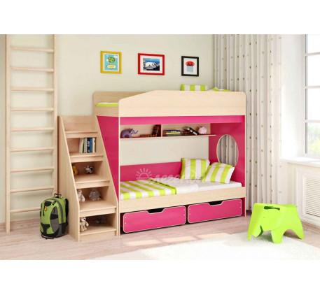 Двухъярусная кровать для девочек Легенда-10 с лестницей ЛУ-10, спальные места 180х80 см