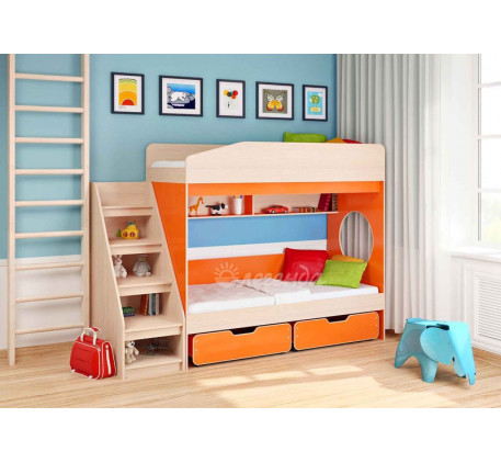 Двухъярусная кровать с бортиками Легенда-10 с лестницей ЛУ-10