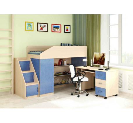 Кровать-чердак с рабочей зоной для мальчика Легенда-11.2 со столом Л-01, спальное место 180х80 см