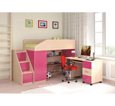 Кровать-чердак для девочки с рабочей зоной Легенда-11.2 со столом Л-01, спальное место 180х80 см