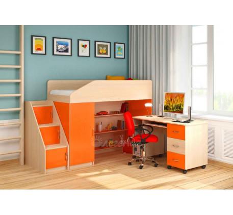 Кровать-чердак для детей с рабочей зоной Легенда-11.2 со столом Л-01, спальное место 180х80 см
