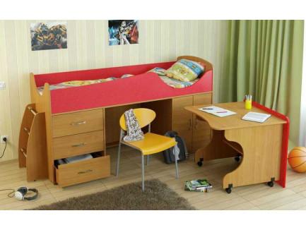 Детская кровать-чердак Карлсон Мини-4 с мобильным столом (арт. 15.7.004), спальное место кровати 1860*700 мм.