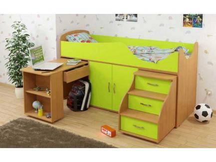 Детская кровать-чердак Карлсон Мини-7 с выдвижным столом (арт. 15.7.007), спальное место кровати 1860*700 мм.