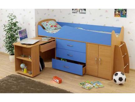 Детская кровать-чердак Карлсон Мини-8 с выдвижным столом (арт. 15.7.008), спальное место кровати 1860*700 мм.