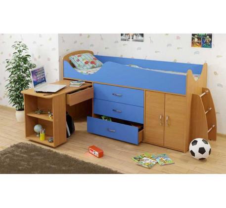 Детская кровать-чердак Карлсон Мини-8 с выдвижным столом (арт. 15.7.008), спальное место кровати 186..