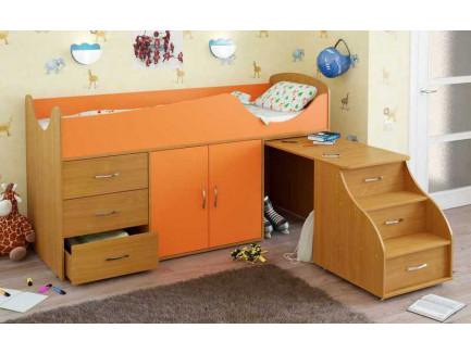 Детская кровать-чердак Карлсон Мини-10 с выдвижным столом (арт. 15.7.010), спальное место кровати 1860*700 мм.