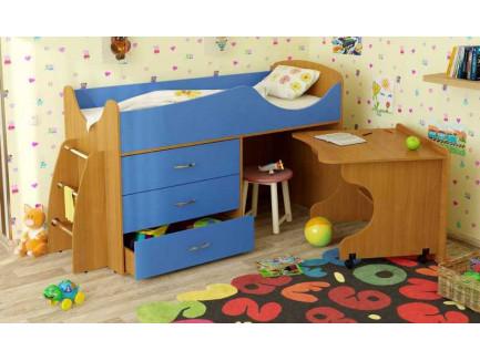 Детская кровать-чердак Карлсон Микро-203 с мобильным столом (арт. 15.8.203), спальное место кровати 1600*700 мм.