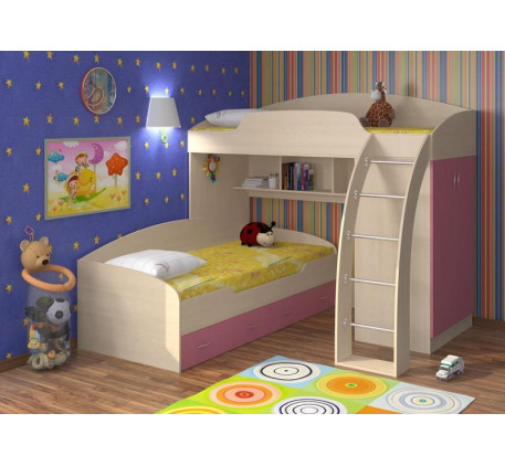 Кровать-чердак Соня-1 + кровать Соня-2 с ящиками, спальные места 190х80 см