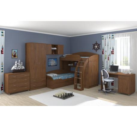 Кровать Соня-1 (верхняя)+Соня-2 (нижняя)+Соня-3 (шкаф с полкой)+стол Дельта 15/1+комод Дельта 25